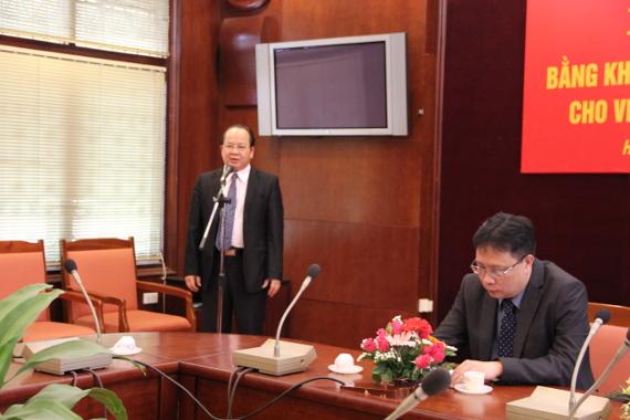 TS. Hoàng Quang Thuận phát biểu tại buổi lễ