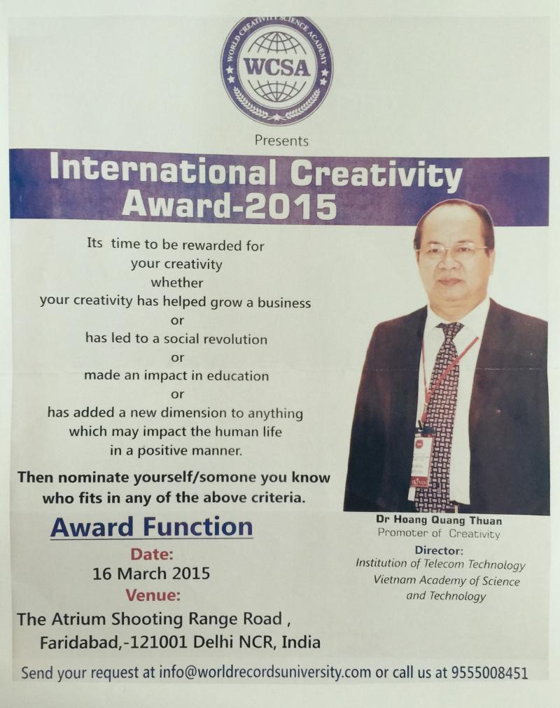Viện Hàn lâm Khoa học sáng tạo Thế giới trao tặng Viện sĩ cho GS. Hoàng Quang Thuận
