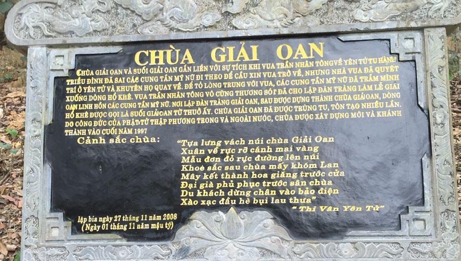 """Bài thơ """"Chùa giải oan"""" được khắc vào đá Hoa cương nói về lịch sử và cảnh sắc Chùa được đặt ở Chùa giải oan - Yên Tử, T.P Uông Bí, Quảng Ninh (trích """"Thi Vân Yên Tử"""")"""