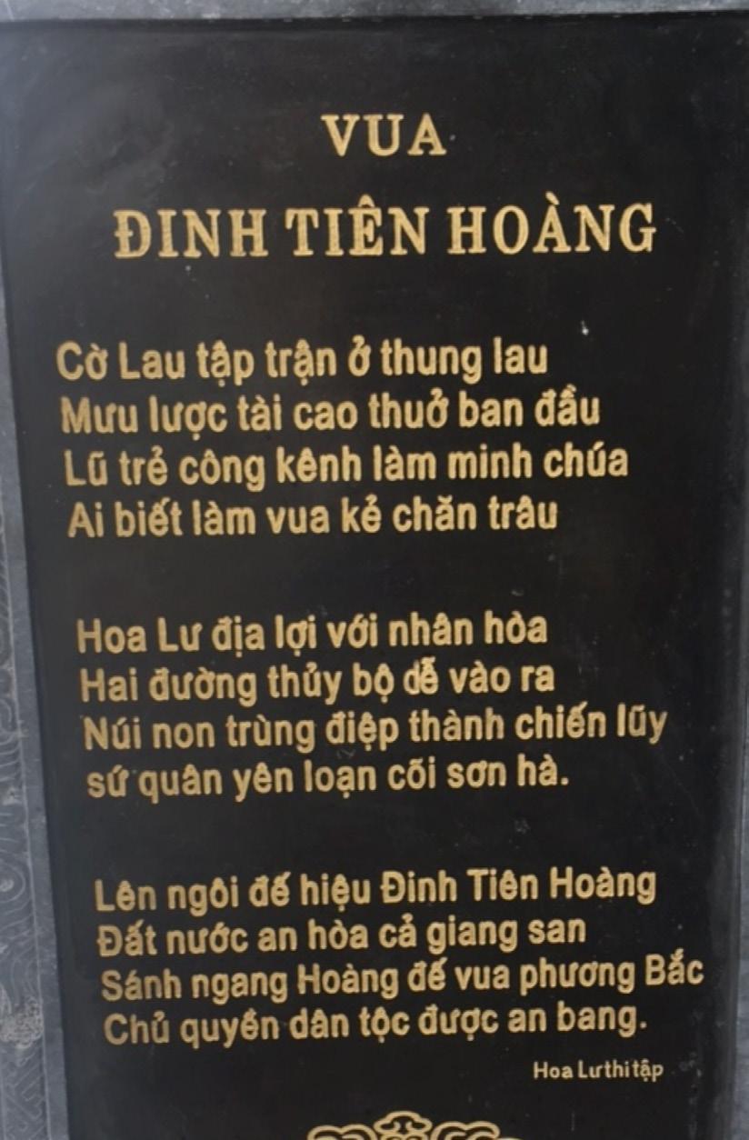 """Bài thơ """"Vua Đinh Tiên Hoàng"""" được khắc vào Bia đá đặt ở chùa Bái Đính, Ninh Bình - Di sản Văn hóa Thế giới được UNESCO công nhận (trích """"Hoa Lư Thi Tập"""")"""