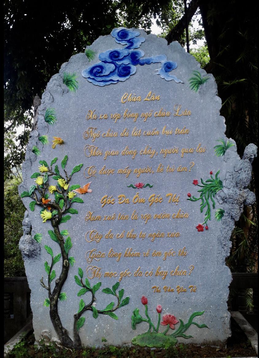 """Bài thơ """"Chùa Lân"""" được khắc vào đá hoa cương đặt ở Chùa Lân - Yên Tử, TP Uông Bí, Quảng Ninh (trích """"Thi vân Yên Tử"""")"""