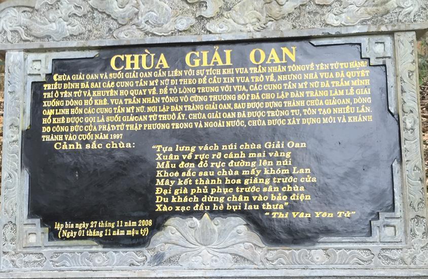 """Bài thơ """"Chùa giải oan"""" được khắc vào đá Hoa cương nói về lịch sử và cảnh sắc Chùa được đặt ở Chùa giải oan - Yên Tử, TP Uông Bí, Quảng Ninh (trích """"Thi Vân Yên Tử"""")"""