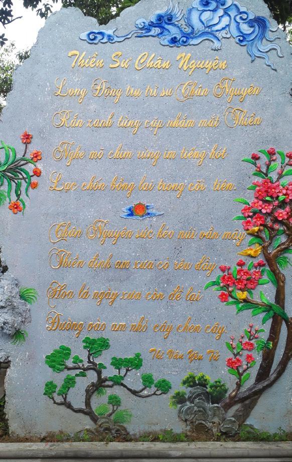 """Bài thơ """"Thiền Sư Chân Nguyên"""" được khắc vào đá hoa cương đặt ở Chùa Lân - Yên Tử, TP Uông Bí, Quảng Ninh (trích """"Thi vân Yên Tử"""")"""