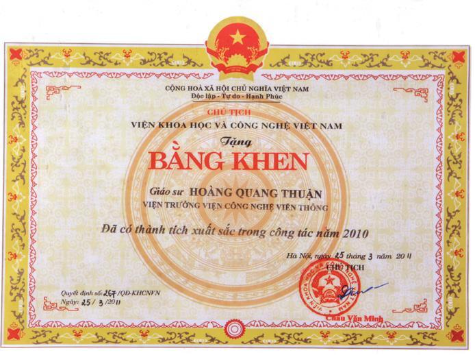 Bằng khen của Chủ tịch Viện Hàn lâm Khoa học và Công nghệ Việt Nam