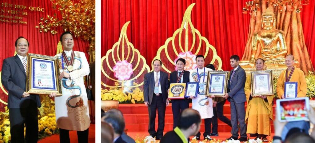 GS.VS Hoàng Quang Thuận - thành viên Liên minh Kỷ lục Thế giới trao tặng Bằng xác lập kỷ lục, đĩa vàng và kỷ niệm chương cho ông Mẫn Ngọc Anh - Chủ tịch Tập đoàn Hanaka tại Đại lễ Liên Hợp Quốc VESAK 2019 được truyền hình trực tiếp trên kênh VTV1 ngày 14-5-2019