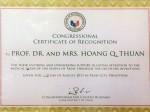 Những giấy chứng nhận quốc tế tặng thưởng GS Hoàng Quang Thuận