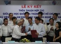Lễ ký kết Thỏa thuận hợp tác giữa Viện Hàn lâm KHCNVN và Đại học Quốc gia Tp. Hồ Chí Minh